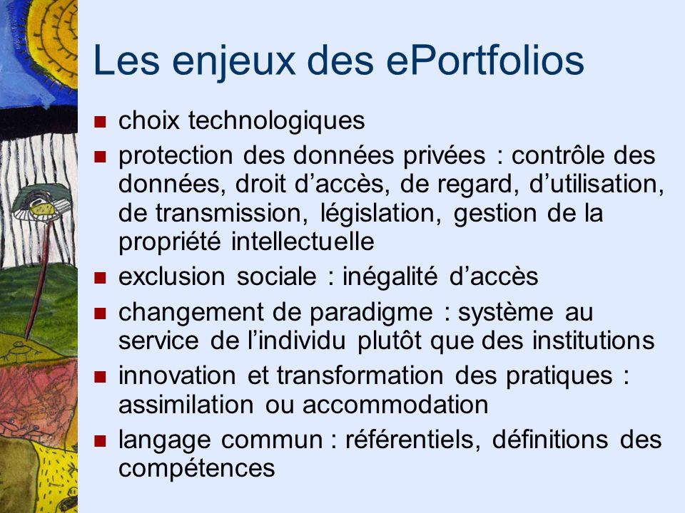 Les enjeux des ePortfolios choix technologiques protection des données privées : contrôle des données, droit daccès, de regard, dutilisation, de trans
