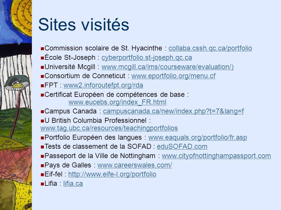 Sites visités Commission scolaire de St. Hyacinthe : collaba.cssh.qc.ca/portfoliocollaba.cssh.qc.ca/portfolio École St-Joseph : cyberportfolio.st-jose