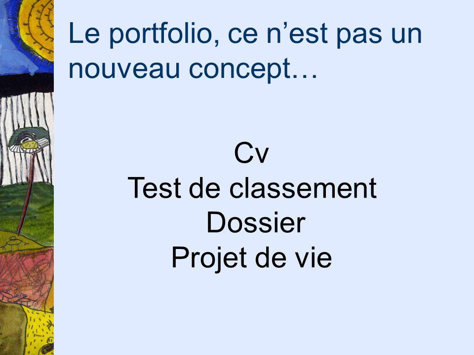 Le portfolio, ce nest pas un nouveau concept… Cv Test de classement Dossier Projet de vie