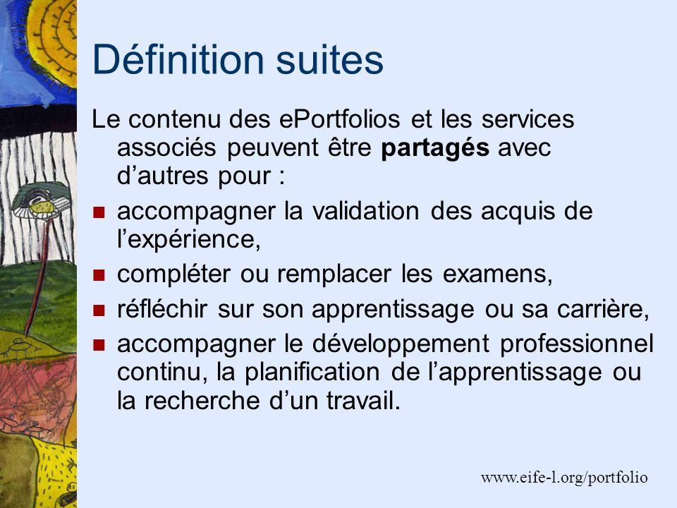 Définition suites Le contenu des ePortfolios et les services associés peuvent être partagés avec dautres pour : accompagner la validation des acquis d
