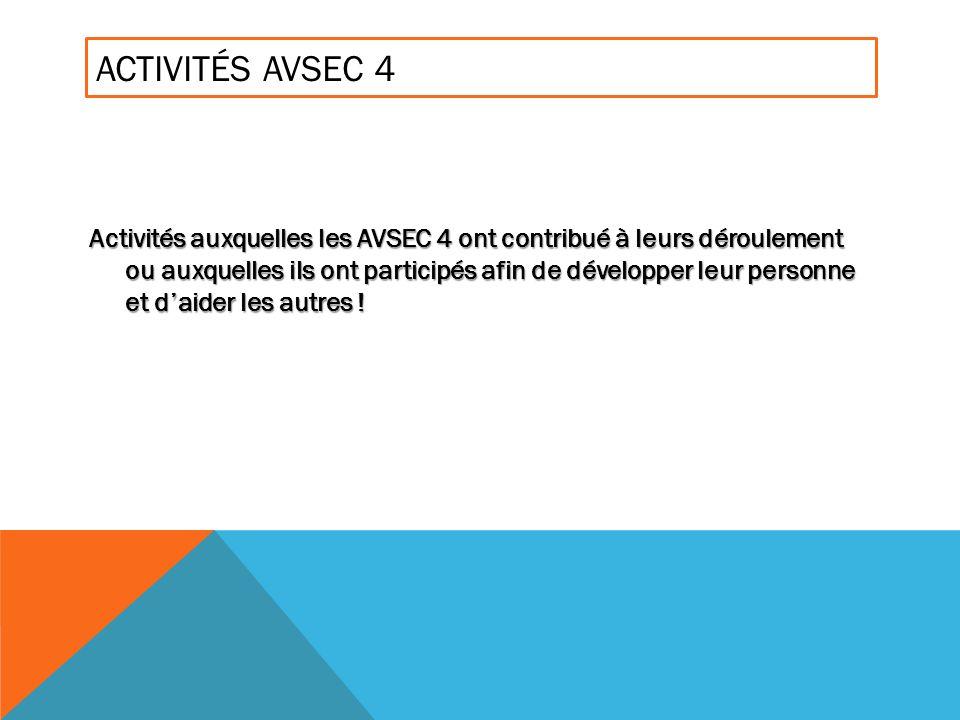 ACTIVITÉS AVSEC 4 Activités auxquelles les AVSEC 4 ont contribué à leurs déroulement ou auxquelles ils ont participés afin de développer leur personne