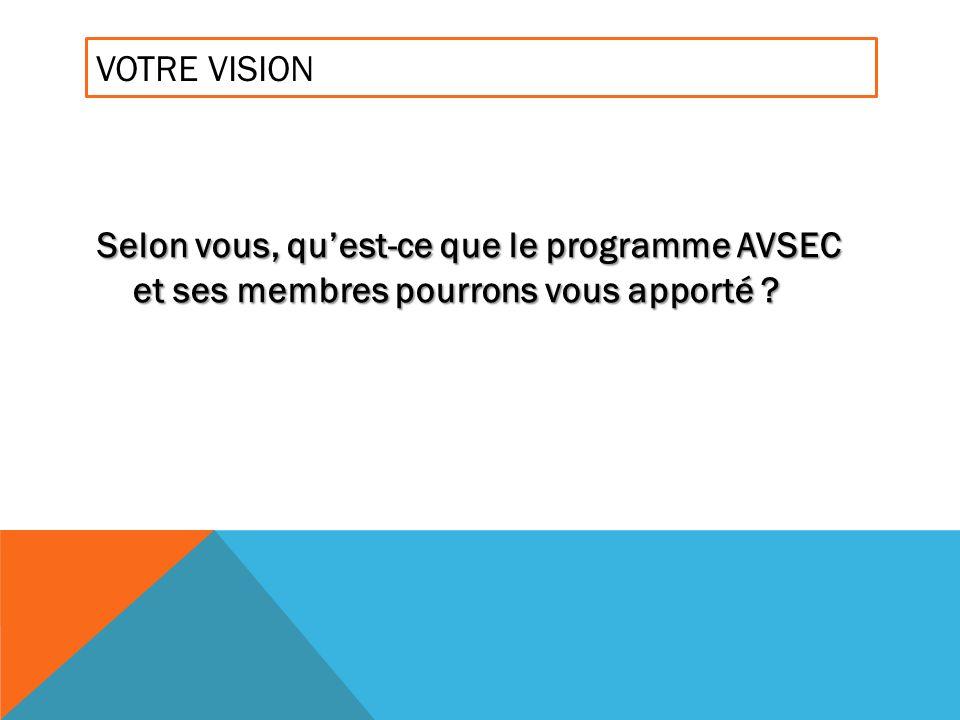 VOTRE VISION Selon vous, quest-ce que le programme AVSEC et ses membres pourrons vous apporté ?