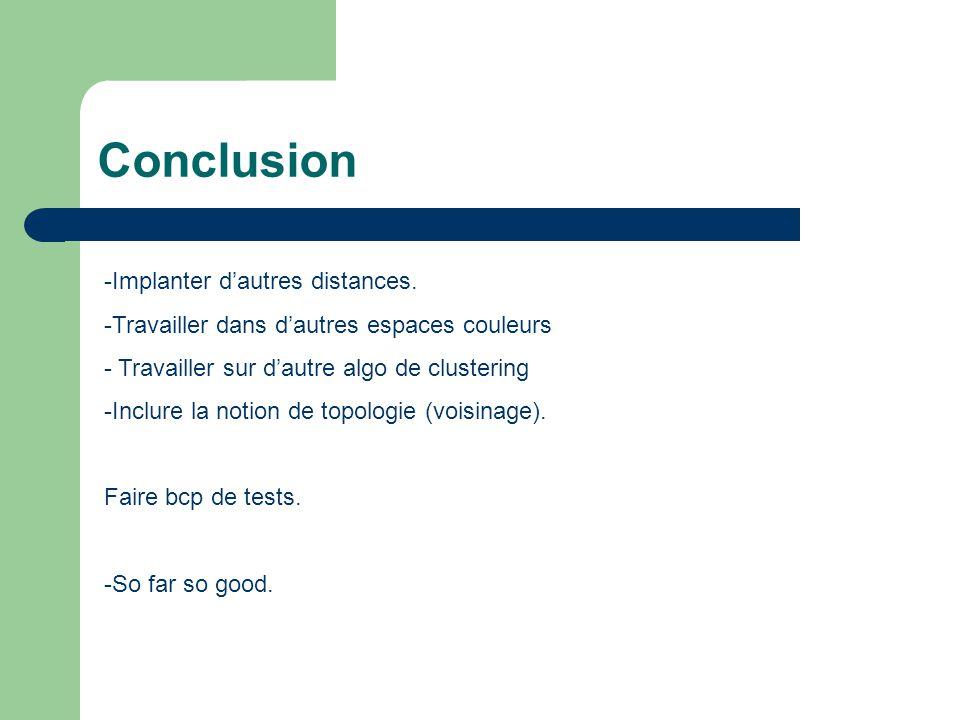 Conclusion -Implanter dautres distances. -Travailler dans dautres espaces couleurs - Travailler sur dautre algo de clustering -Inclure la notion de to