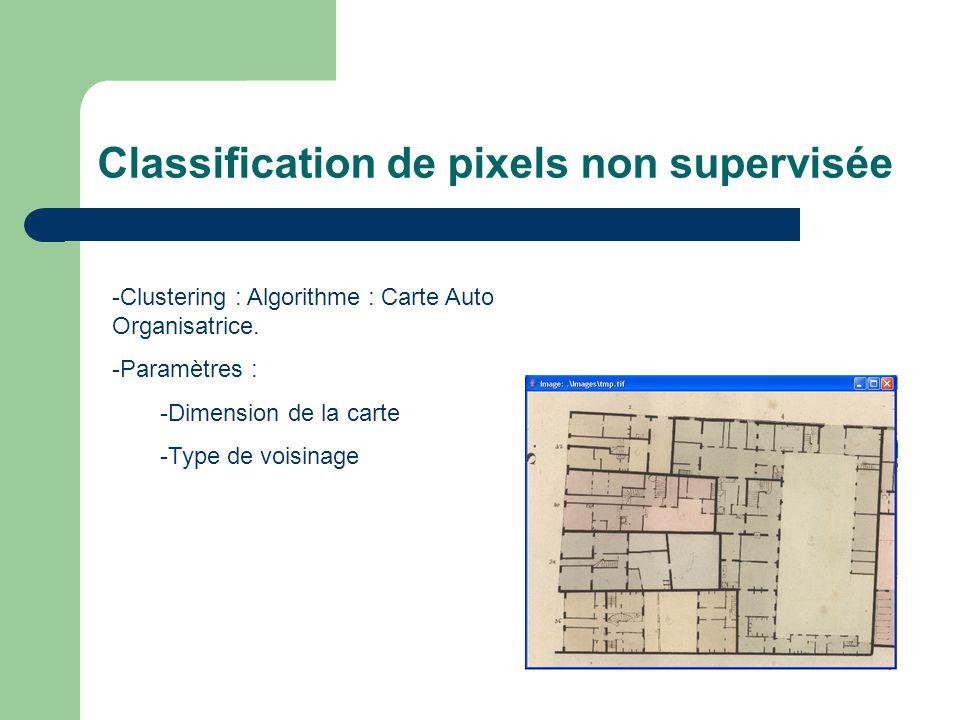 Classification de pixels non supervisée -Clustering : Algorithme : Carte Auto Organisatrice. -Paramètres : -Dimension de la carte -Type de voisinage