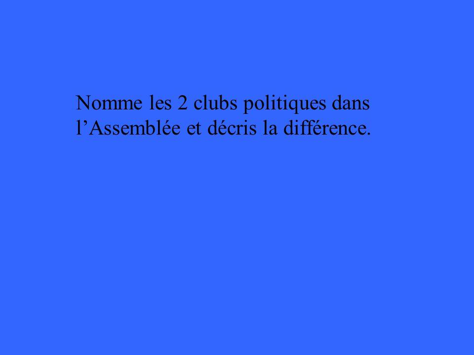 Nomme les 2 clubs politiques dans lAssemblée et décris la différence.