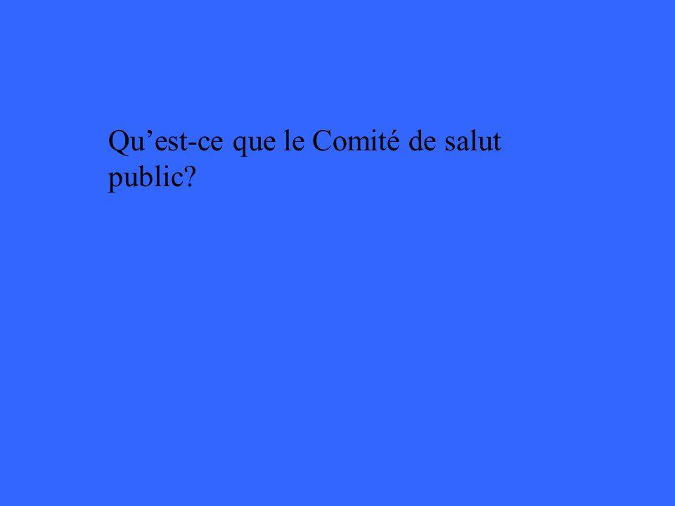 Quest-ce que le Comité de salut public?