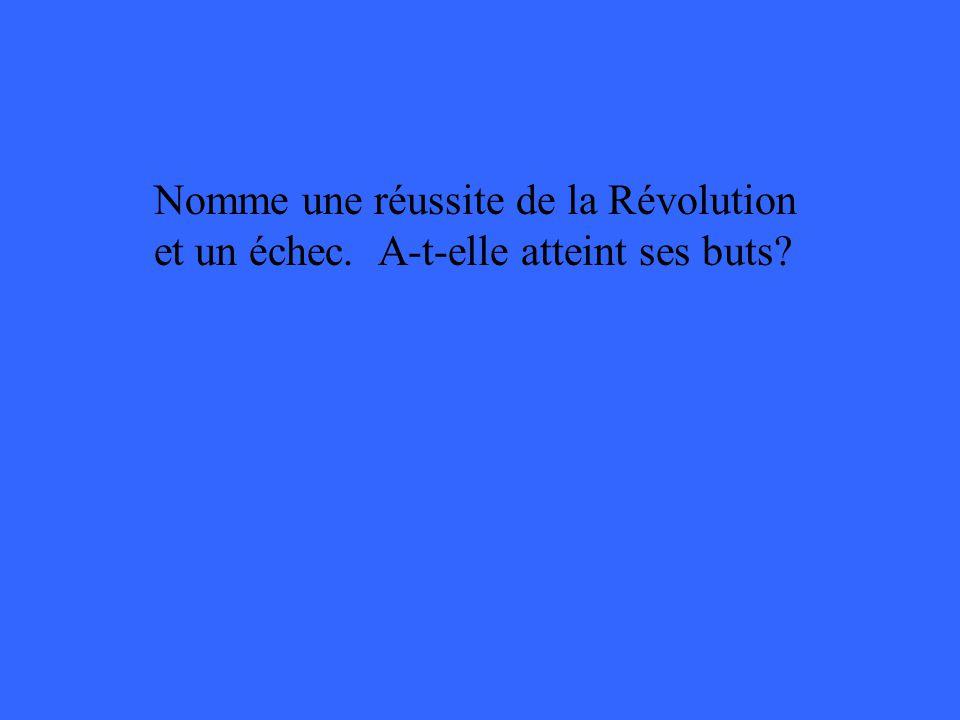 Nomme une réussite de la Révolution et un échec. A-t-elle atteint ses buts