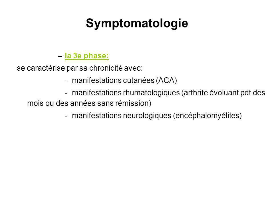 Symptomatologie –la 3e phase: se caractérise par sa chronicité avec: - manifestations cutanées (ACA) - manifestations rhumatologiques (arthrite évolua