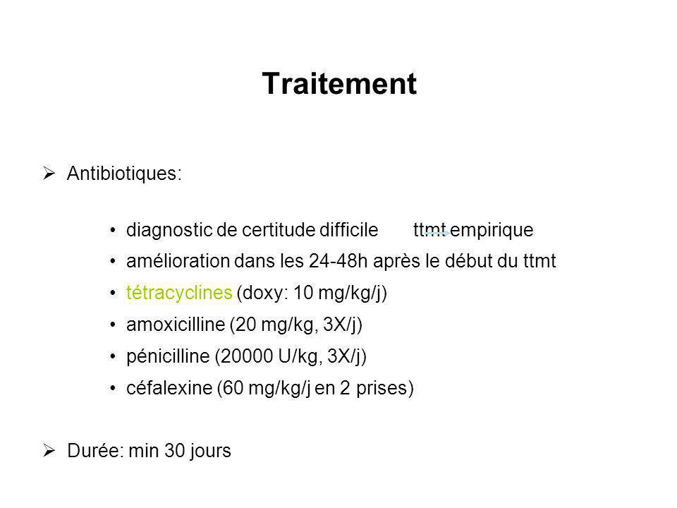 Traitement Antibiotiques: diagnostic de certitude difficile ttmt empirique amélioration dans les 24-48h après le début du ttmt tétracyclines (doxy: 10
