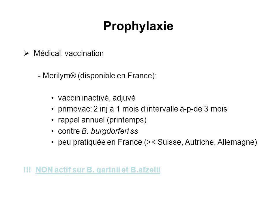 Prophylaxie Médical: vaccination - Merilym® (disponible en France): vaccin inactivé, adjuvé primovac: 2 inj à 1 mois dintervalle à-p-de 3 mois rappel