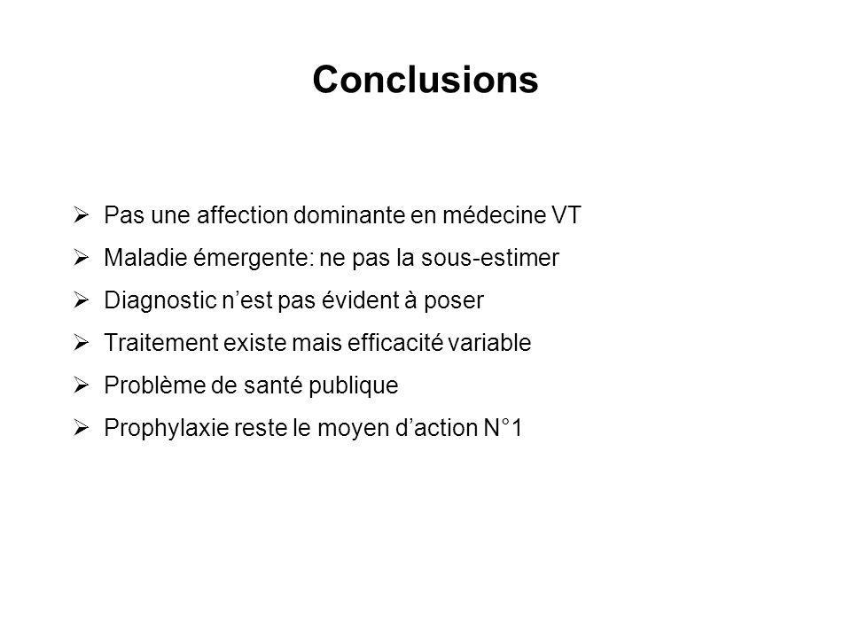 Conclusions Pas une affection dominante en médecine VT Maladie émergente: ne pas la sous-estimer Diagnostic nest pas évident à poser Traitement existe