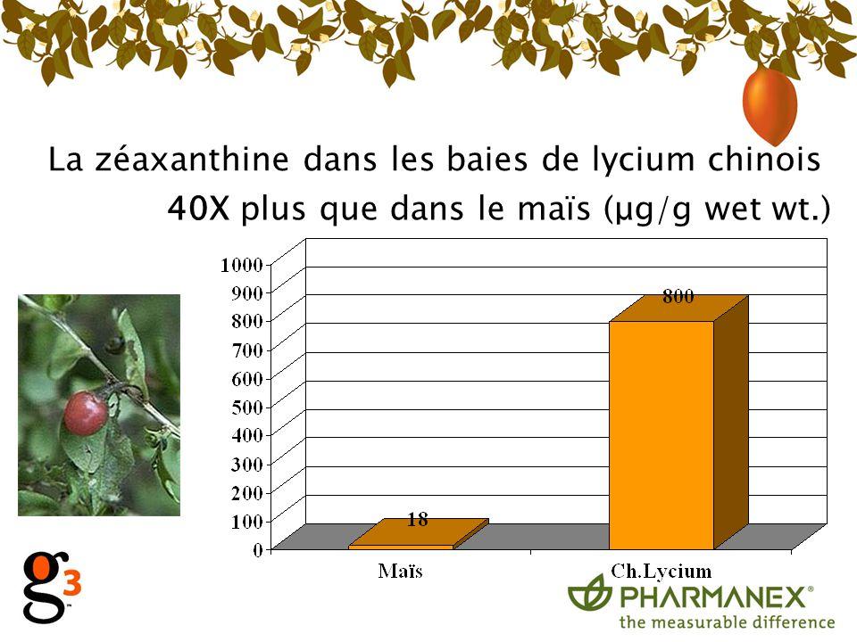 La zéaxanthine dans les baies de lycium chinois 40X plus que dans le maïs (μg/g wet wt.)