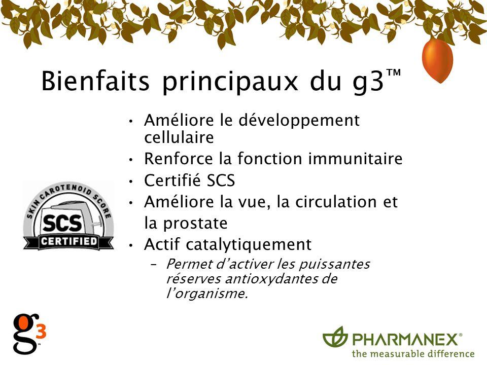 Bienfaits principaux du g3 Améliore le développement cellulaire Renforce la fonction immunitaire Certifié SCS Améliore la vue, la circulation et la pr