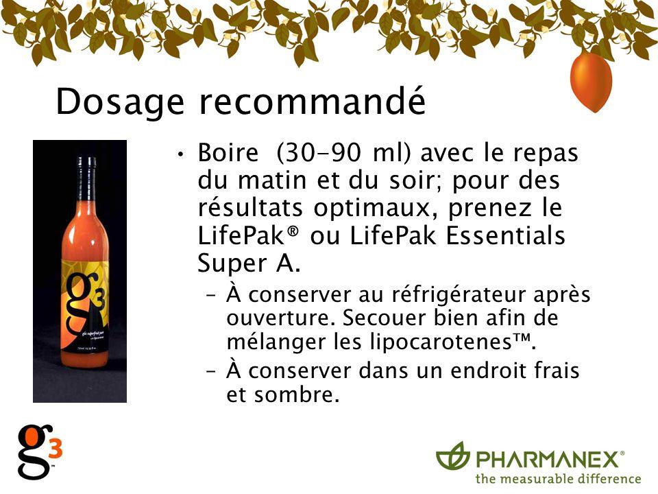 Dosage recommandé Boire (30-90 ml) avec le repas du matin et du soir; pour des résultats optimaux, prenez le LifePak® ou LifePak Essentials Super A. –