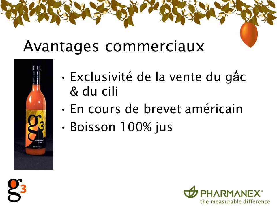 Avantages commerciaux Exclusivité de la vente du g c & du cili En cours de brevet américain Boisson 100% jus