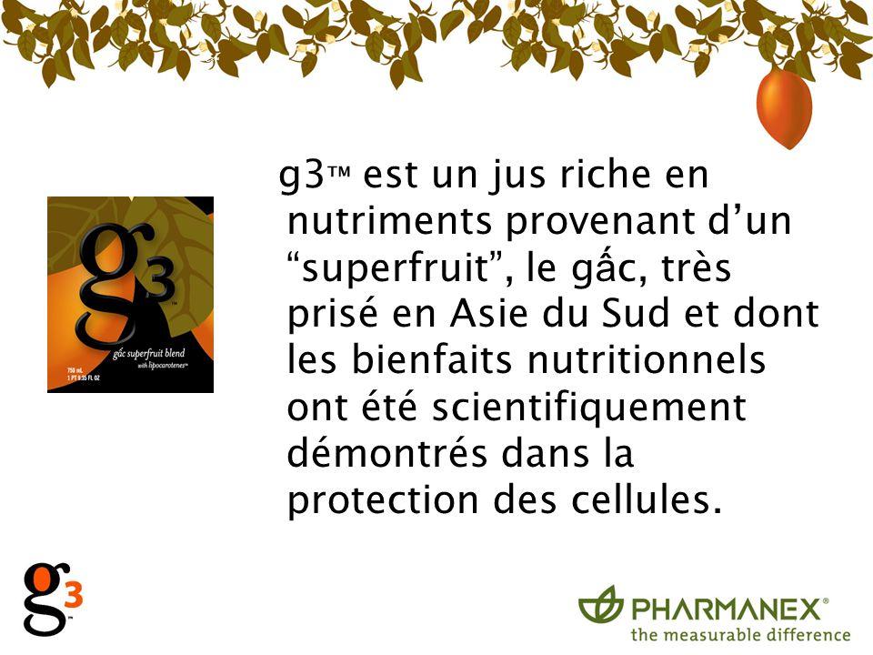 g3 est un jus riche en nutriments provenant dun superfruit, le g c, très prisé en Asie du Sud et dont les bienfaits nutritionnels ont été scientifique