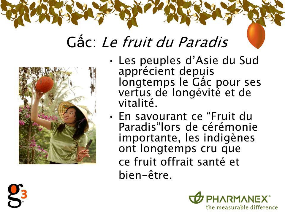 G c: Le fruit du Paradis Les peuples dAsie du Sud apprécient depuis longtemps le G c pour ses vertus de longévité et de vitalité. En savourant ce Frui