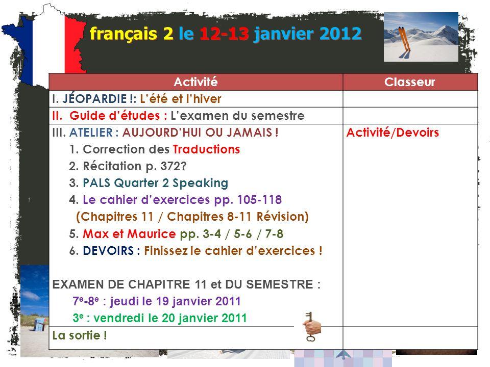 français 2 le 12-13 janvier 2012