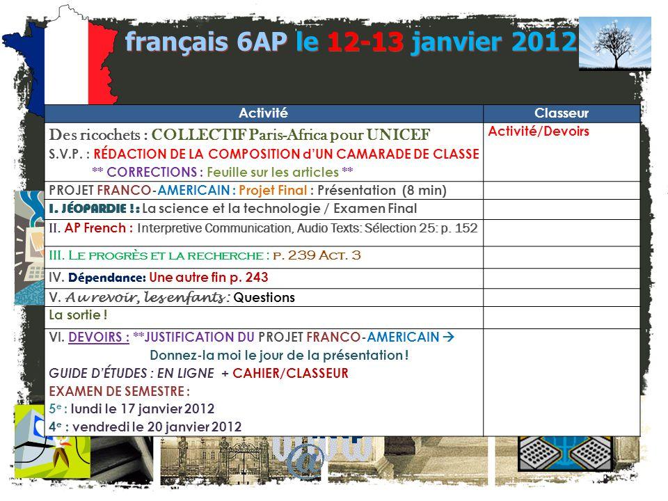 français 6AP Le 12-13 janvier 2012 Le 12-13 janvier 2012