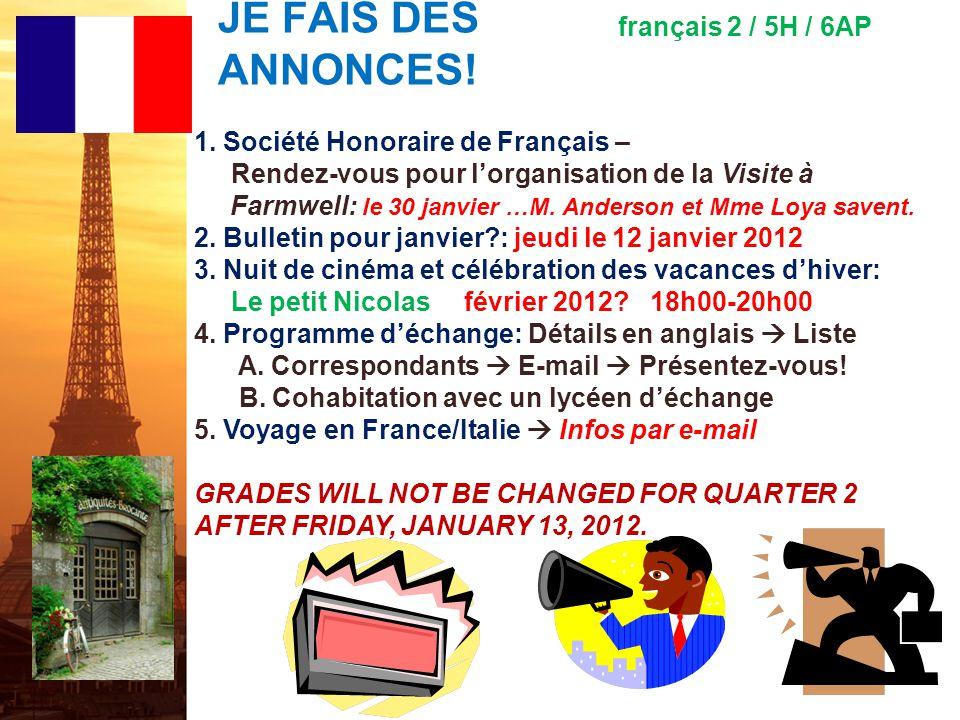 français 2 le 12-13 janvier 2012 ActivitéClasseur I.