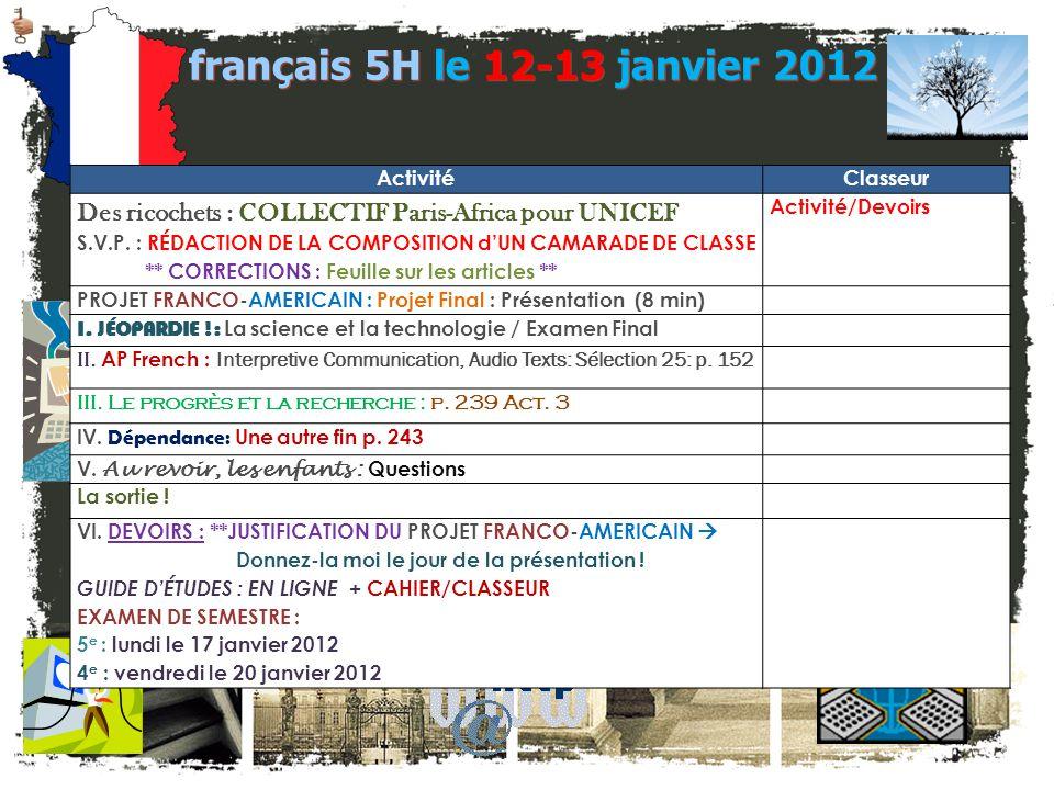 français 5H le 12-13 janvier 2012