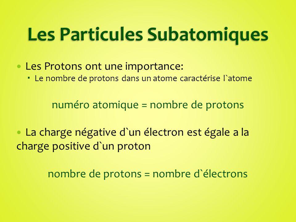 Les Protons ont une importance: Le nombre de protons dans un atome caractérise l`atome numéro atomique = nombre de protons La charge négative d`un éle