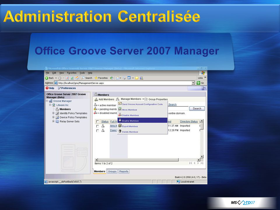 Office Groove Server 2007 Manager