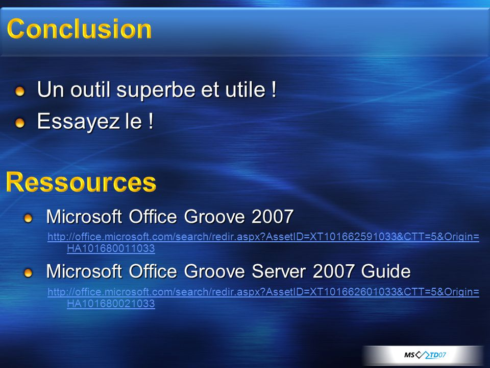 Un outil superbe et utile ! Essayez le ! Microsoft Office Groove 2007 http://office.microsoft.com/search/redir.aspx?AssetID=XT101662591033&CTT=5&Origi