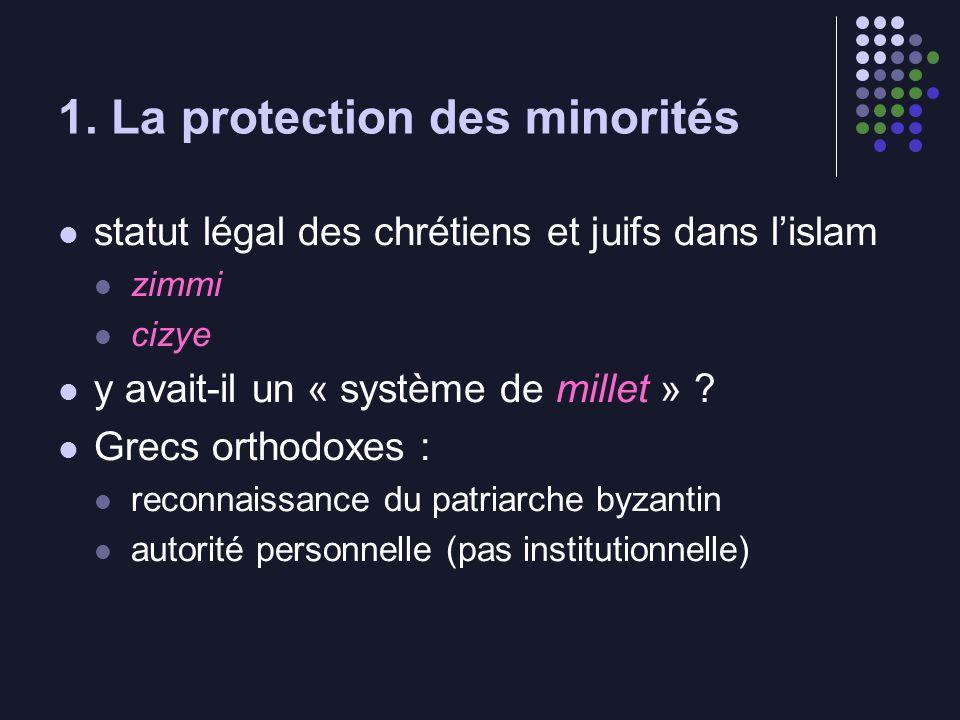 1. La protection des minorités statut légal des chrétiens et juifs dans lislam zimmi cizye y avait-il un « système de millet » ? Grecs orthodoxes : re