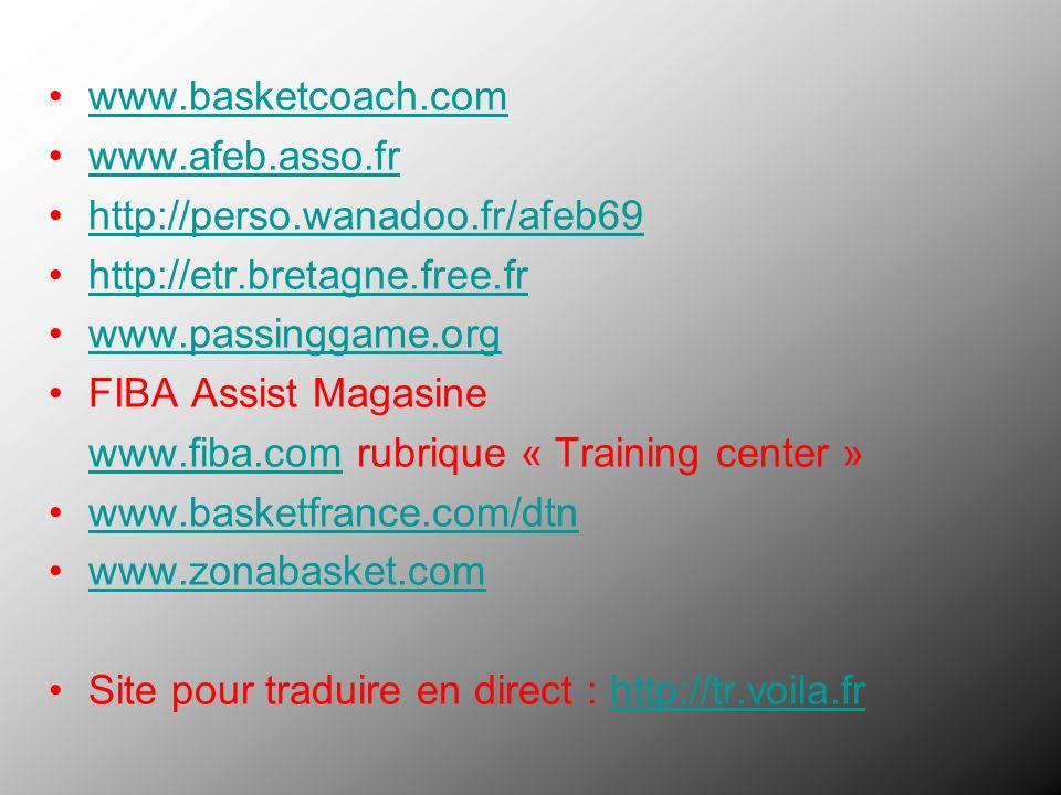 www.basketcoach.com www.afeb.asso.fr http://perso.wanadoo.fr/afeb69 http://etr.bretagne.free.fr www.passinggame.org FIBA Assist Magasine www.fiba.comw
