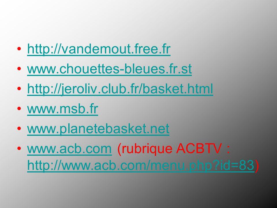 http://vandemout.free.fr www.chouettes-bleues.fr.st http://jeroliv.club.fr/basket.html www.msb.fr www.planetebasket.net www.acb.com (rubrique ACBTV :