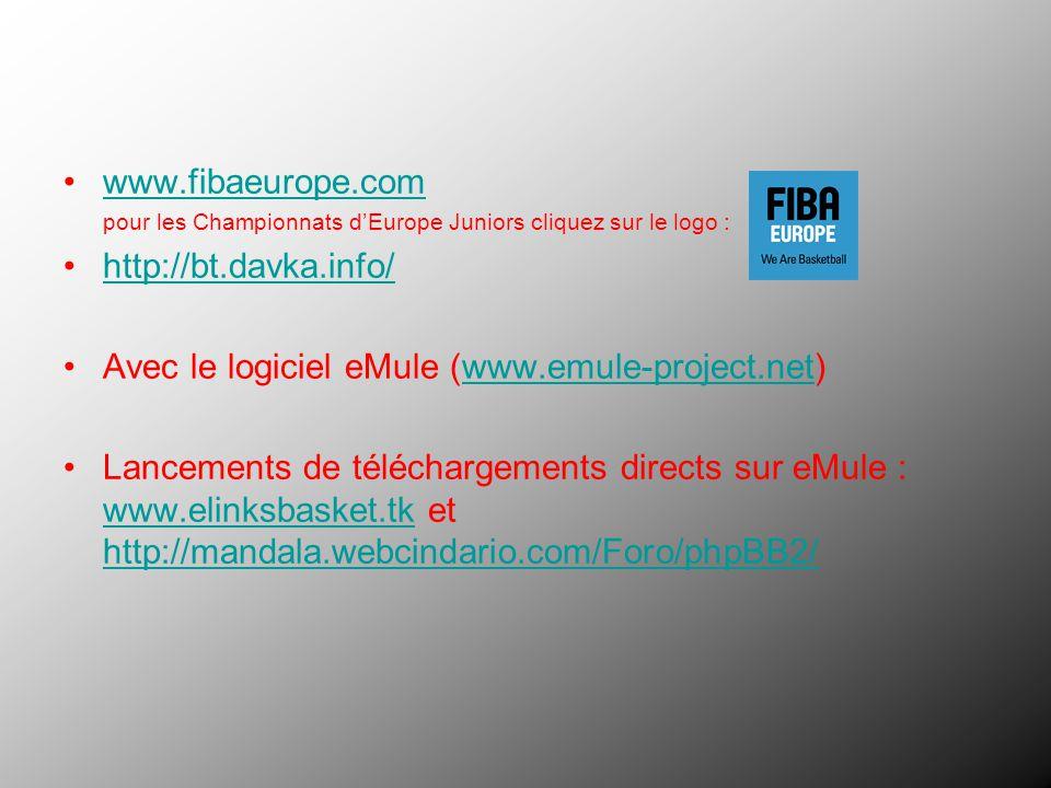 www.fibaeurope.com pour les Championnats dEurope Juniors cliquez sur le logo : http://bt.davka.info/ Avec le logiciel eMule (www.emule-project.net)www