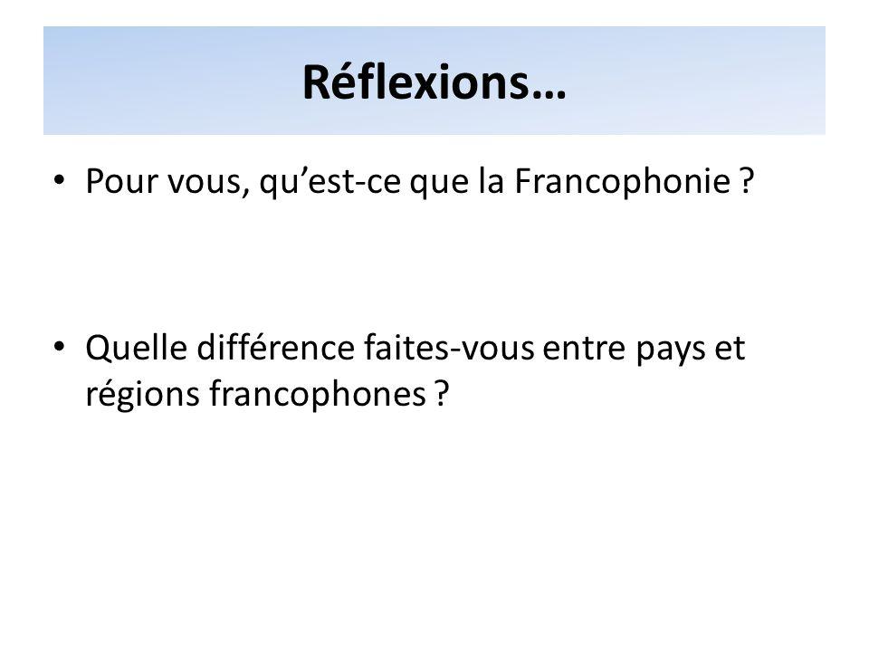 La Francophonie aujourdhui Le français est parlé par près de 75 états et régions à travers le monde Dans ces pays, le français peut être langue officielle, langue seconde, langue de communication…