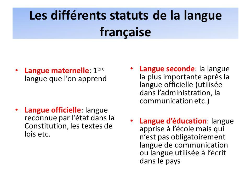 Les différents statuts de la langue française Langue maternelle: 1 ère langue que lon apprend Langue officielle: langue reconnue par létat dans la Constitution, les textes de lois etc.