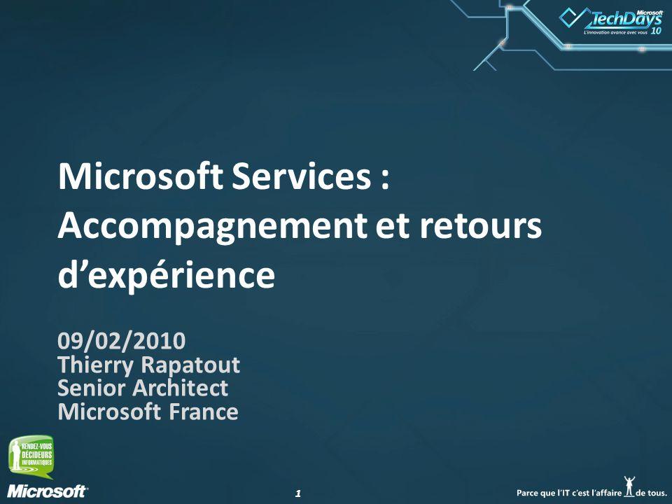 11 Microsoft Services : Accompagnement et retours dexpérience 09/02/2010 Thierry Rapatout Senior Architect Microsoft France