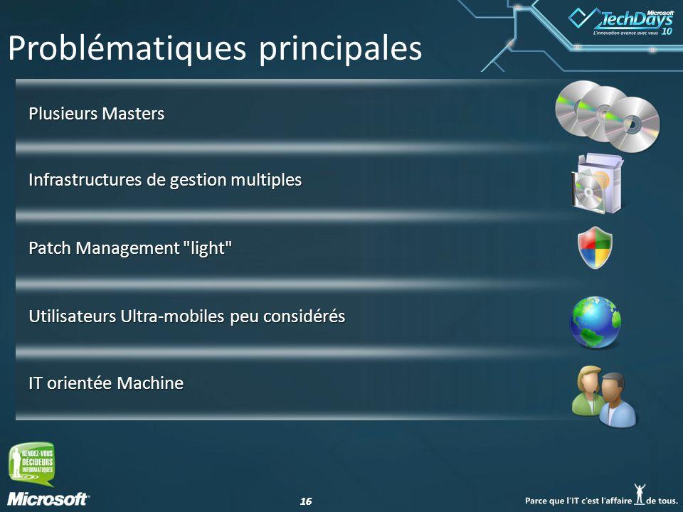 16 Problématiques principales Infrastructures de gestion multiples Patch Management