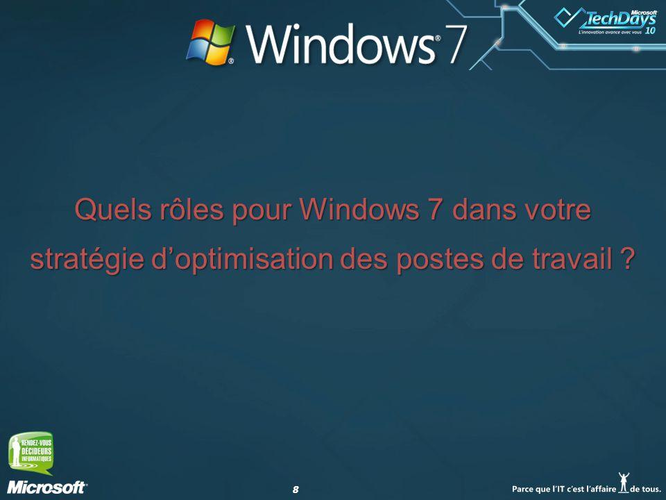 88 Quels rôles pour Windows 7 dans votre stratégie doptimisation des postes de travail ?