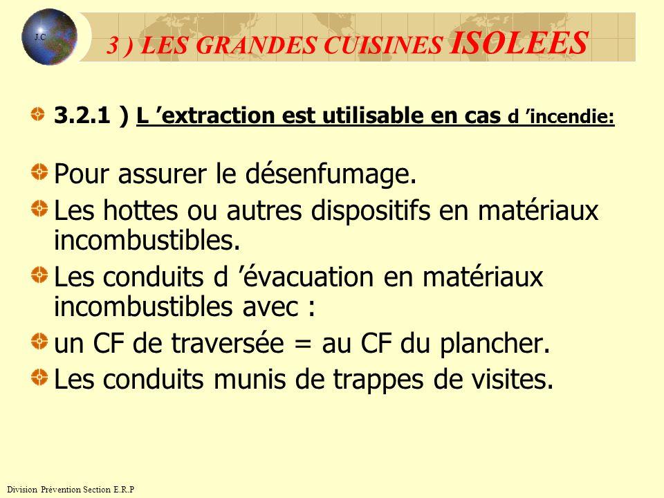 3.2.1 ) L extraction est utilisable en cas d incendie: Pour assurer le désenfumage. Les hottes ou autres dispositifs en matériaux incombustibles. Les