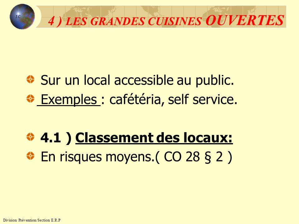 Sur un local accessible au public. Exemples : cafétéria, self service. 4.1 ) Classement des locaux: En risques moyens.( CO 28 § 2 ) 4 ) LES GRANDES CU