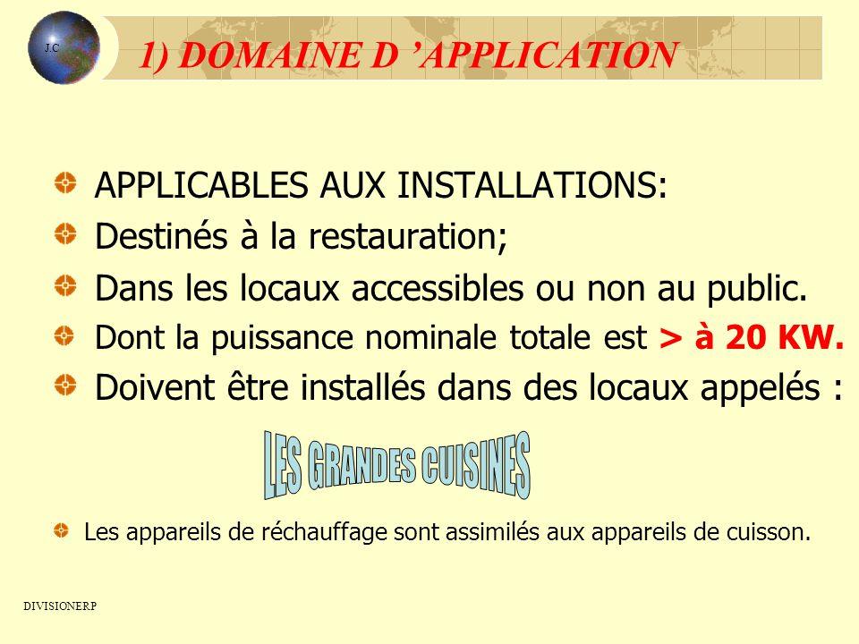 1) DOMAINE D APPLICATION APPLICABLES AUX INSTALLATIONS: Destinés à la restauration; Dans les locaux accessibles ou non au public. Dont la puissance no