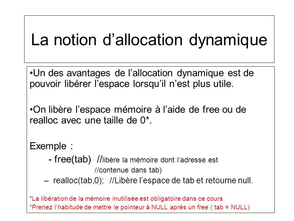 La notion dallocation dynamique Un des avantages de lallocation dynamique est de pouvoir libérer lespace lorsquil nest plus utile. On libère lespace m