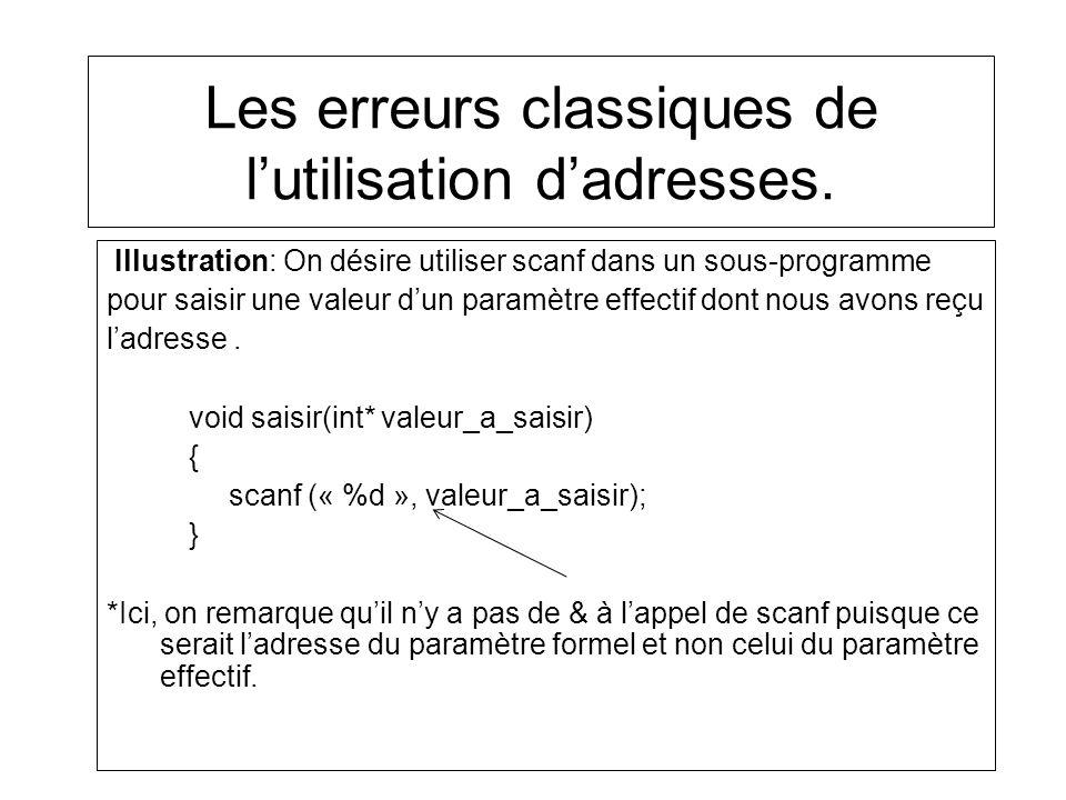 Les erreurs classiques de lutilisation dadresses. Illustration: On désire utiliser scanf dans un sous-programme pour saisir une valeur dun paramètre e