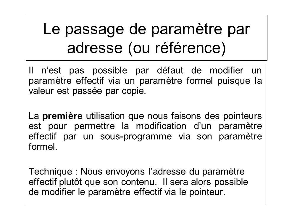 Il nest pas possible par défaut de modifier un paramètre effectif via un paramètre formel puisque la valeur est passée par copie. La première utilisat