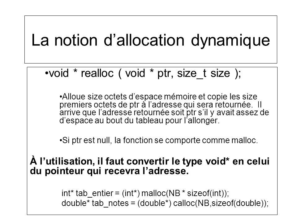 La notion dallocation dynamique void * realloc ( void * ptr, size_t size ); Alloue size octets despace mémoire et copie les size premiers octets de pt