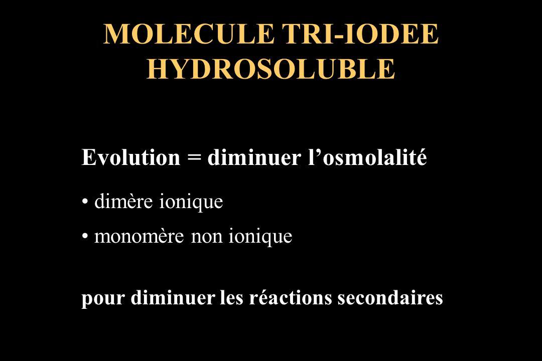 Evolution = diminuer losmolalité dimère ionique monomère non ionique pour diminuer les réactions secondaires MOLECULE TRI-IODEE HYDROSOLUBLE