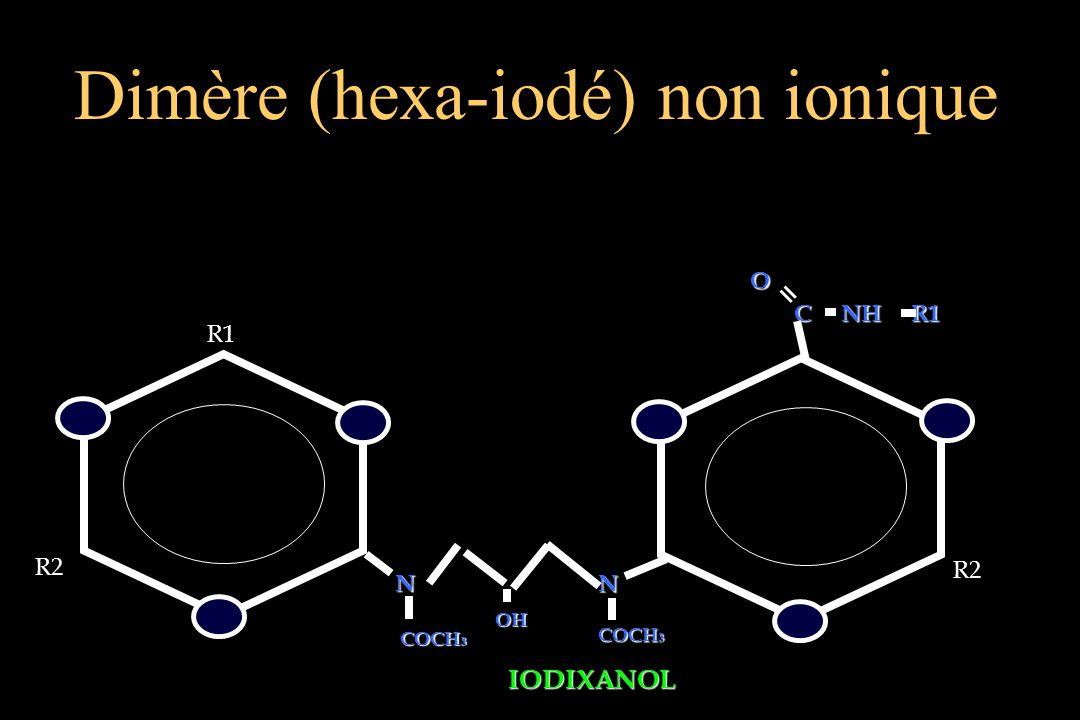 Dimère (hexa-iodé) non ionique R2 R2 C NH R1 C NH R1 R1 OO = NN NN COCH 3 OHOH IODIXANOL