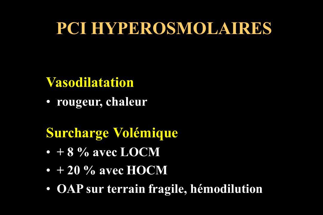 PCI HYPEROSMOLAIRES Vasodilatation rougeur, chaleur Surcharge Volémique + 8 % avec LOCM + 20 % avec HOCM OAP sur terrain fragile, hémodilution