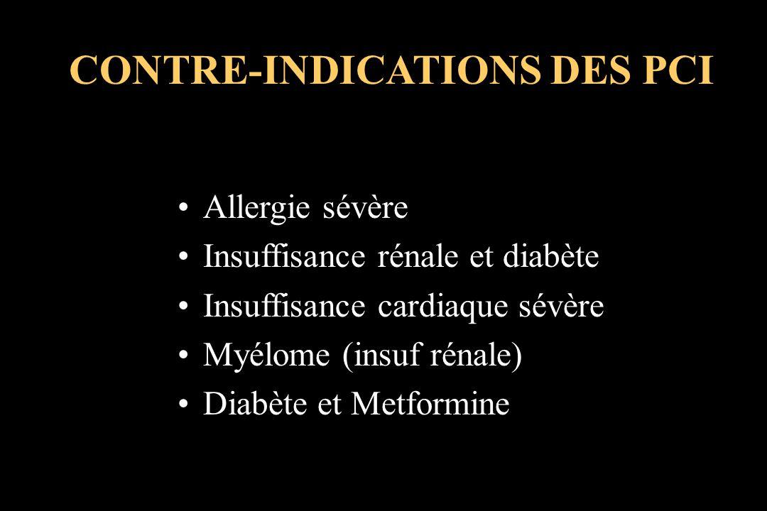 CONTRE-INDICATIONS DES PCI Allergie sévère Insuffisance rénale et diabète Insuffisance cardiaque sévère Myélome (insuf rénale) Diabète et Metformine