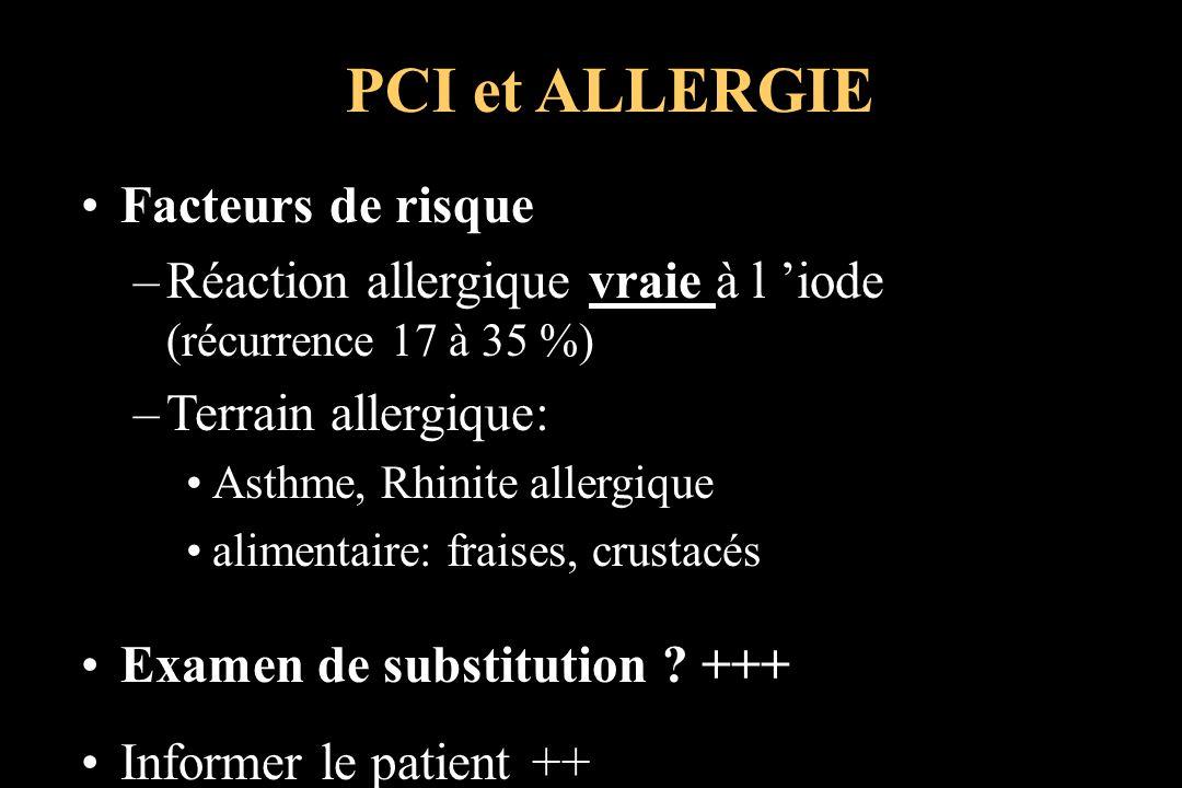 Facteurs de risque –Réaction allergique vraie à l iode (récurrence 17 à 35 %) –Terrain allergique: Asthme, Rhinite allergique alimentaire: fraises, cr