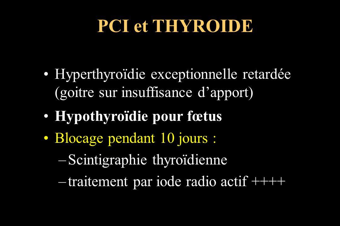 Hyperthyroïdie exceptionnelle retardée (goitre sur insuffisance dapport) Hypothyroïdie pour fœtus Blocage pendant 10 jours : –Scintigraphie thyroïdien